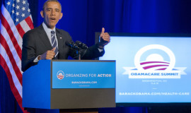"""WASHINGTON, DC - NOVEMBER 04:  US President Barack Obama delivers remarks at an Organizing for Action """"Obamacare Summit"""" at the St. Regis Hotel on November 4, 2013 in Washington, D.C. Obama spoke on health care and rallied over 200 supporters to get uninsured consumers to purchase a plan through the Affordable Care Act. (Photo by Ron Sachs-Pool/Getty Images)"""